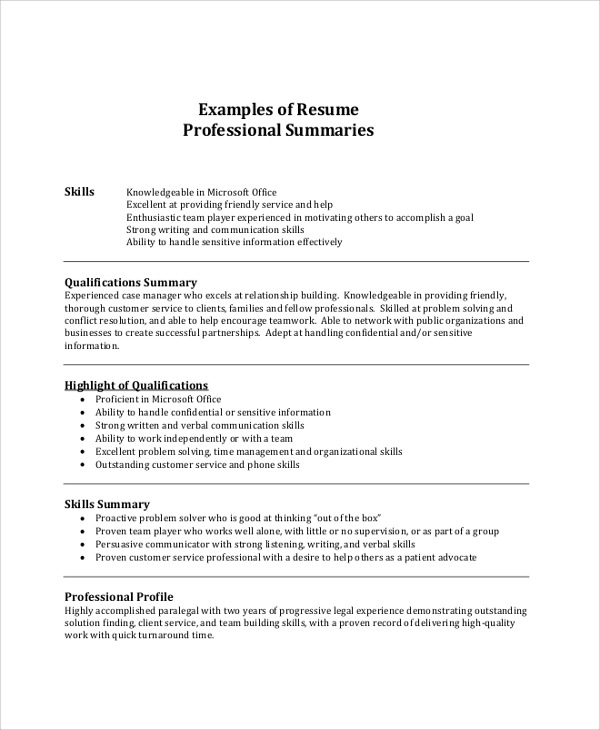 free resume summary samples in pdf ms word job examples professional example army Resume Job Resume Summary Examples