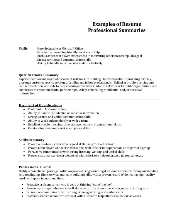 free resume summary templates in pdf ms word job examples professional example1 military Resume Job Resume Summary Examples