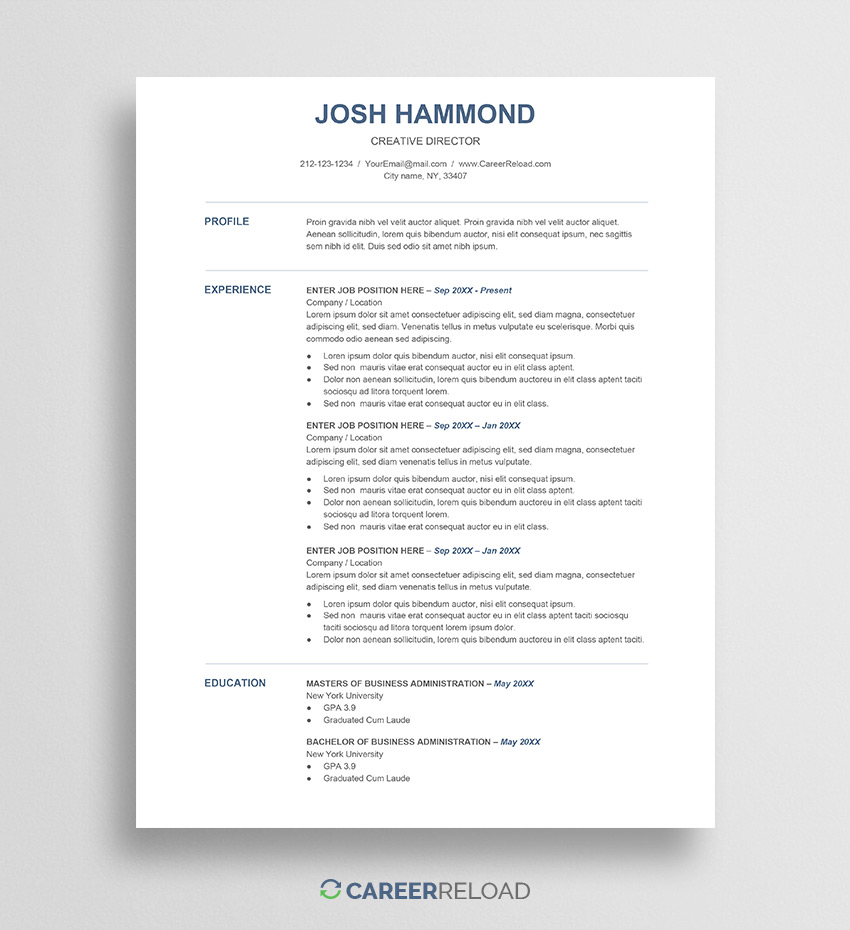 free resume template for google docs career reload sheets josh technical examples Resume Google Sheets Resume Template