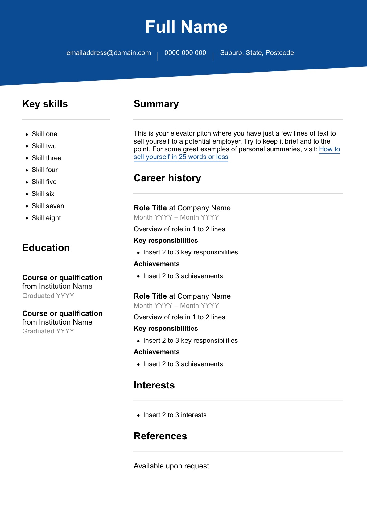 free resume template seek career advice templates for first time job seekers preview Resume Free Resume Templates For First Time Job Seekers