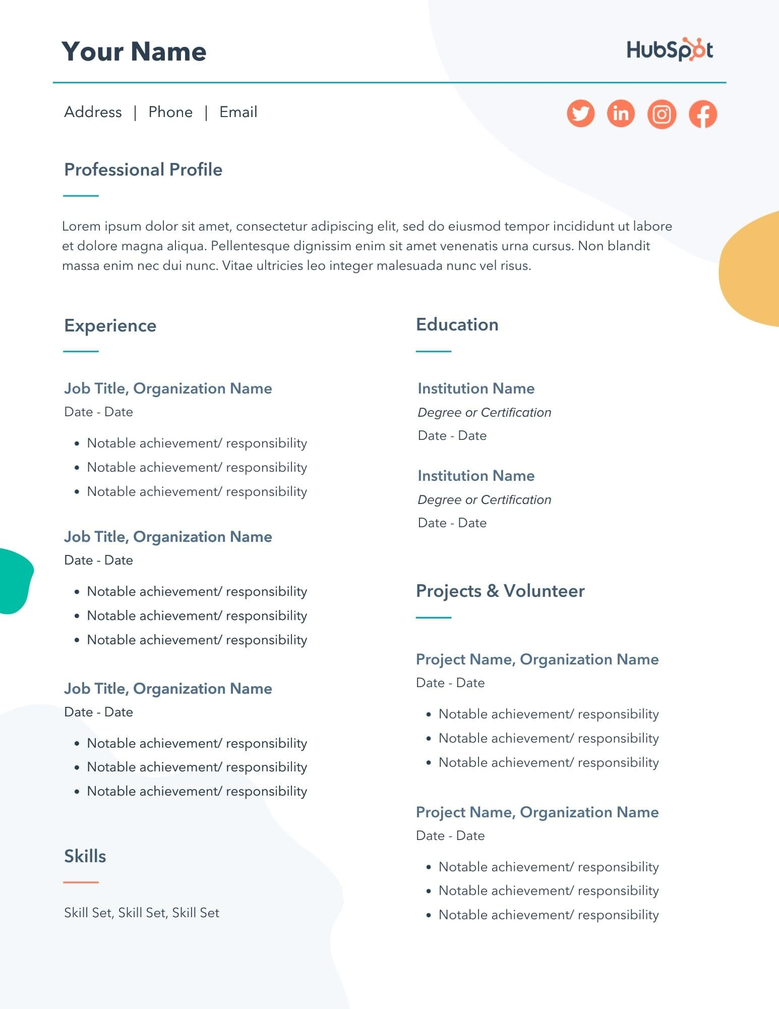 free resume templates for microsoft word to make your own one sample template teens Resume One Page Resume Sample