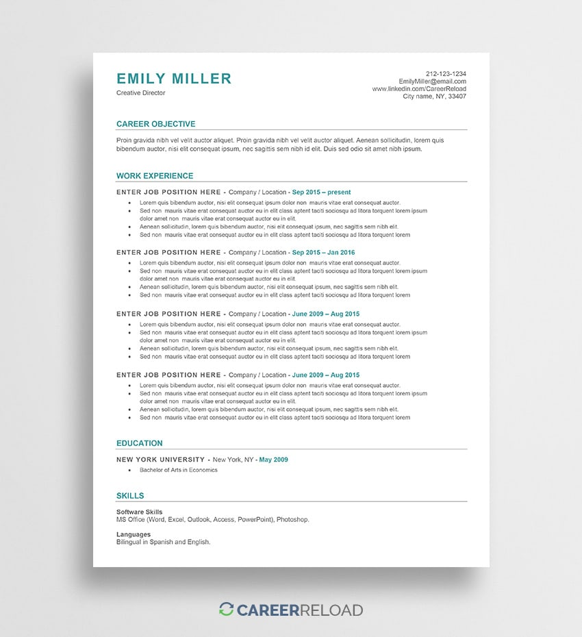 free resume templates resources for job seekers to email template emily nanny sample Resume Free Resume To Email