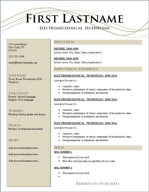free resume templates template word sample outline combination definition best Resume Resume Outline Template Free