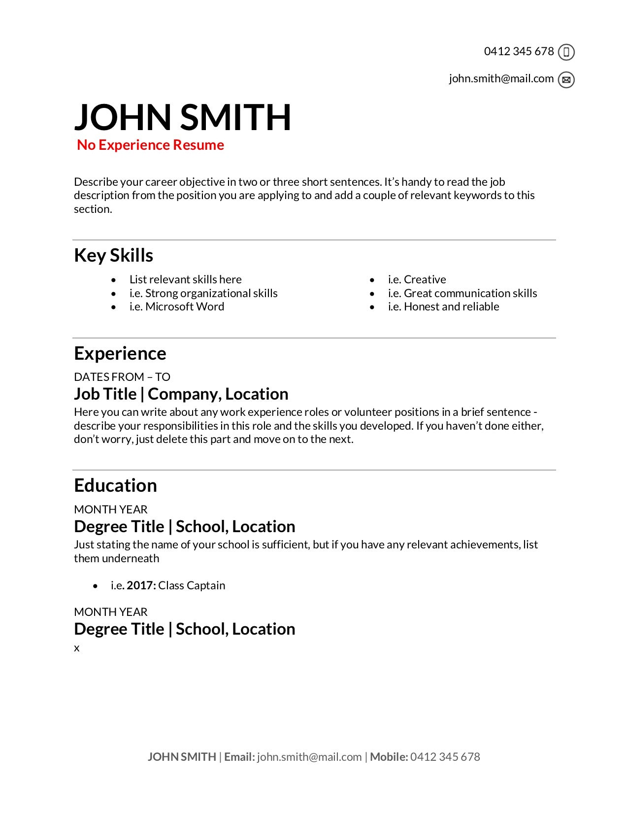 free resume templates to write in training au for first time job seekers no experience Resume Free Resume Templates For First Time Job Seekers