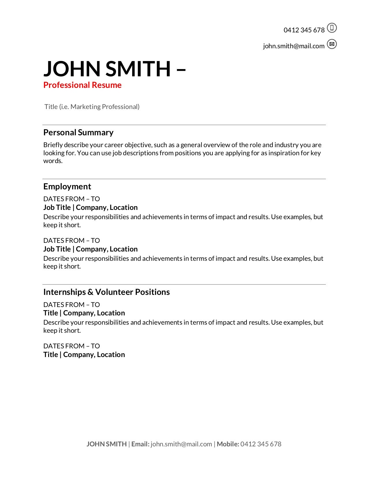 free resume templates to write in training au professional job template pictographic with Resume Professional Job Resume Template