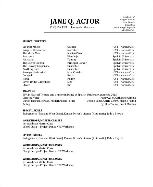 free sample actor resume templates in pdf for acting audition without experience actors Resume Resume For Acting Audition Without Experience