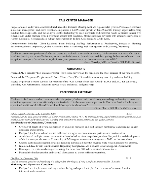free sample call center resume templates in ms word pdf template manager accounting Resume Call Center Resume Template
