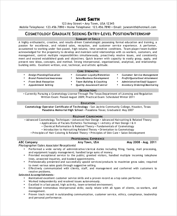 free sample cosmetology resume templates in pdf ms word graduate examples elementary Resume Cosmetology Resume Templates Free