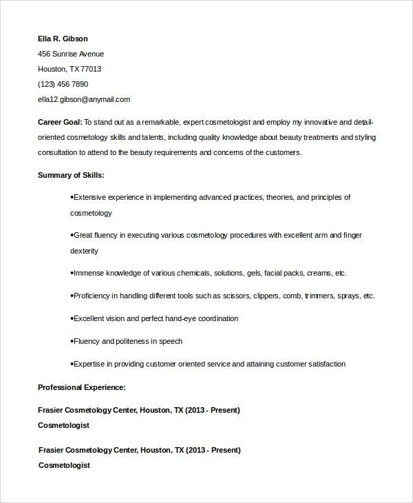 free sample cosmetology resume templates in pdf ms word skills for student formal font Resume Cosmetology Skills For Resume