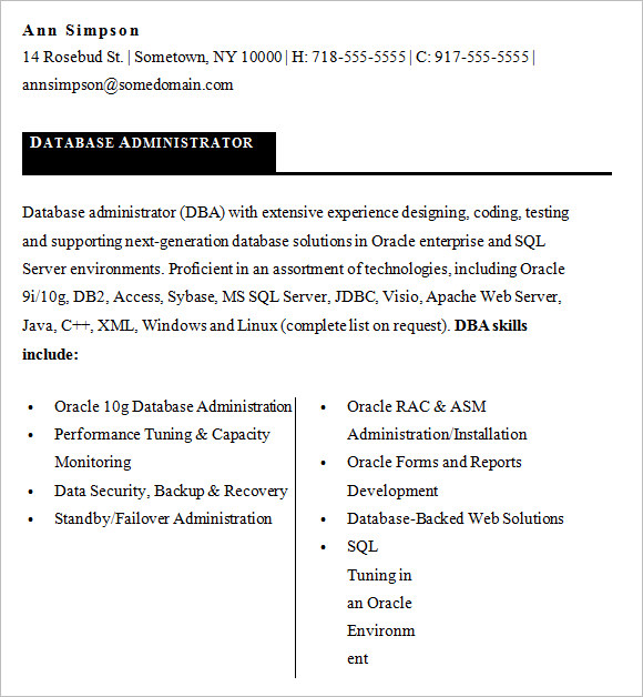free sample database administrator resume templates in ms word pdf oracle entry level Resume Oracle Database Administrator Resume