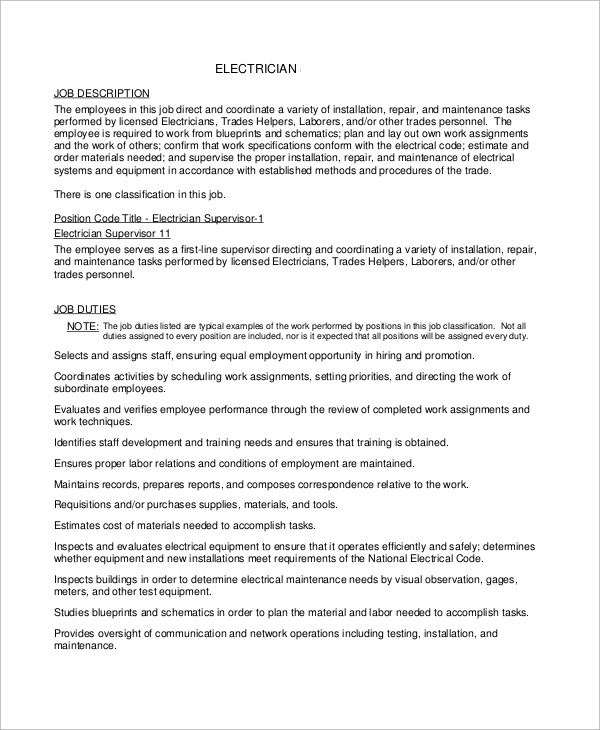 free sample electrician resume templates in ms word pdf duties for job description Resume Electrician Duties For Resume