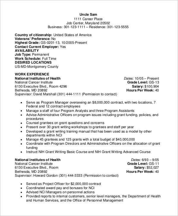 free sample federal resume templates in ms word pdf example government fresher hindi Resume Federal Resume Example 2020