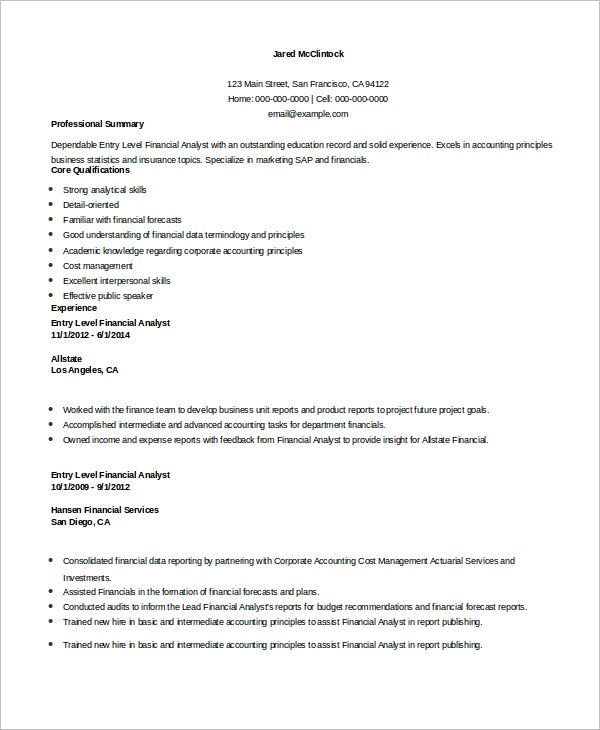 free sample financial analyst resume templates in ms word pdf template entry level steel Resume Financial Analyst Resume Template Word