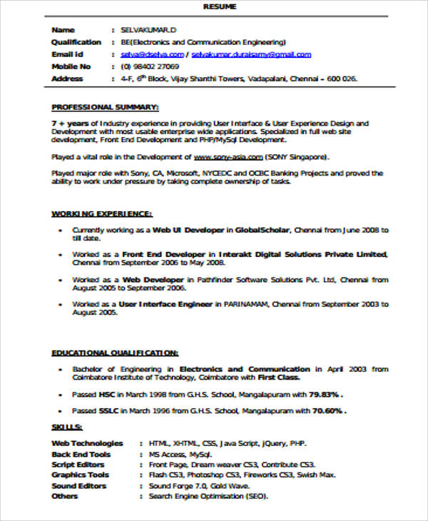 free sample front end developer resume templates in ms word pdf web fresher example Resume Web Developer Resume Fresher