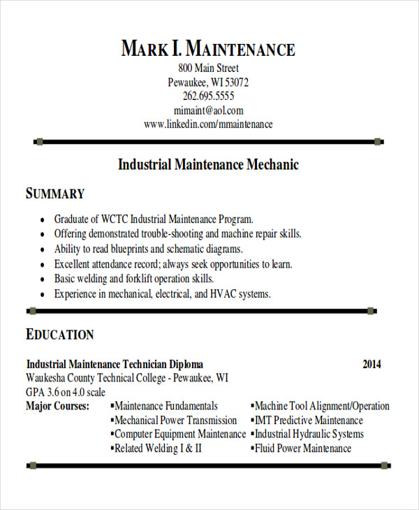 free sample maintenance technician resume templates in ms word pdf examples for jobs Resume Resume Examples For Maintenance Jobs