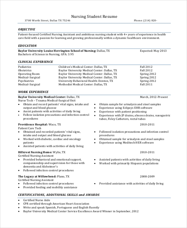 free sample nursing student resume templates in ms word pdf examples with clinical Resume Nursing Resume Examples With Clinical Experience