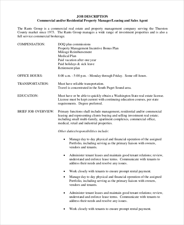 free sample property manager job description templates in pdf ms word management for Resume Property Management Job Description For Resume