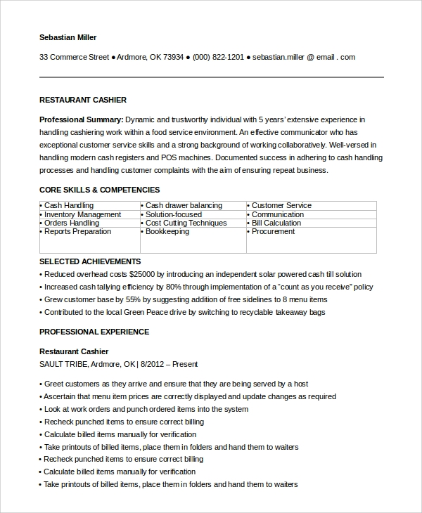 free sample restaurant resume templates in pdf ms word experience for cashier write below Resume Restaurant Experience For Resume