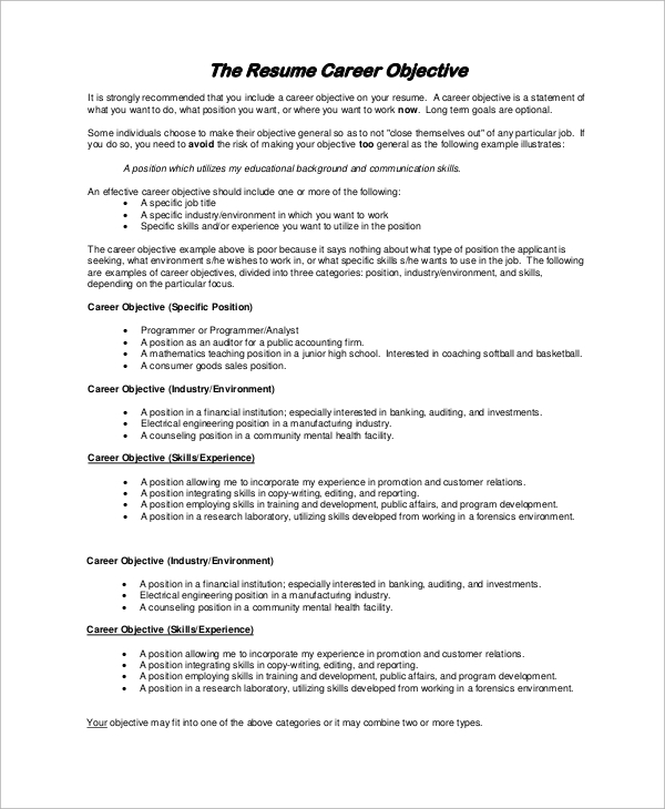 free sample resume objective examples in pdf an example of career mis officer strong Resume An Example Of Resume Objective