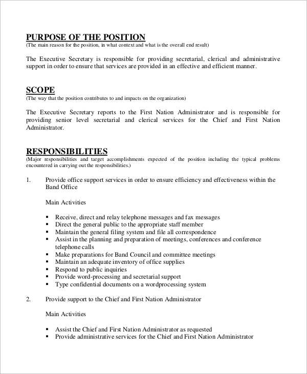 free sample secretary resume templates in ms word pdf job description of for district Resume Job Description Of A Secretary For Resume