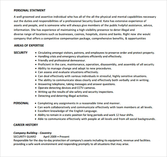 free sample security guard resume templates in pdf ms word objective format skills for Resume Security Guard Resume Objective