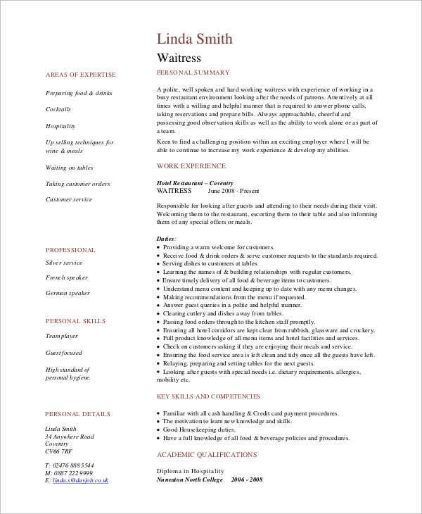 free sample waitress resume templates in pdf ms word skills for on duties event Resume Skills For Waitress On Resume