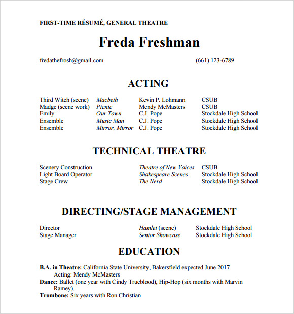 free useful sample acting resume templates in pdf ms word publisher for audition without Resume Resume For Acting Audition Without Experience