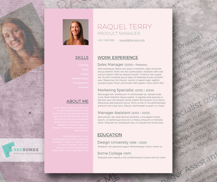 free word resume template for the ladies pretty in pink freesumes templates cv design Resume Pretty Resume Templates