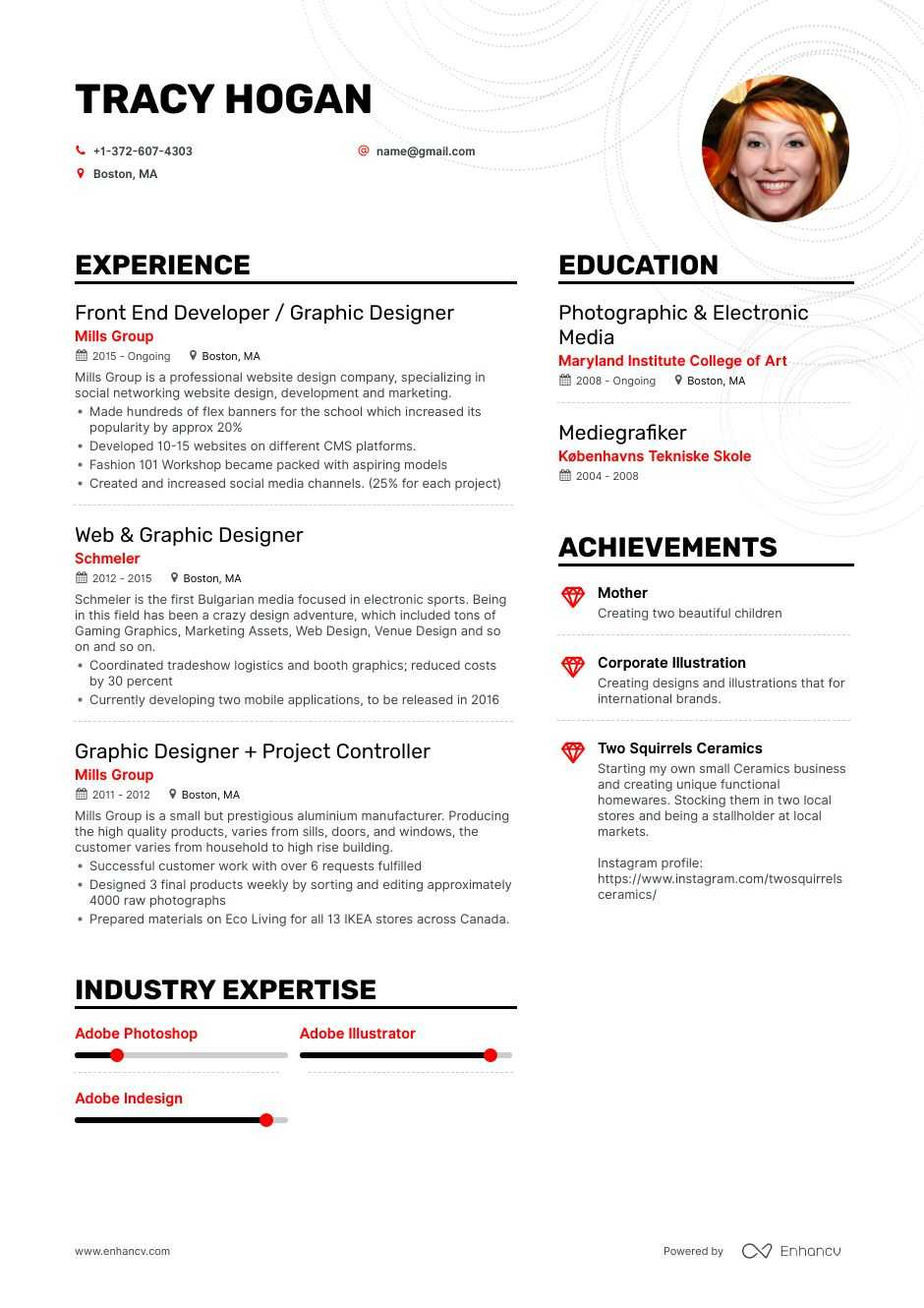 freelance graphic designer resume examples pro tips featured enhancv professional design Resume Professional Graphic Design Resume