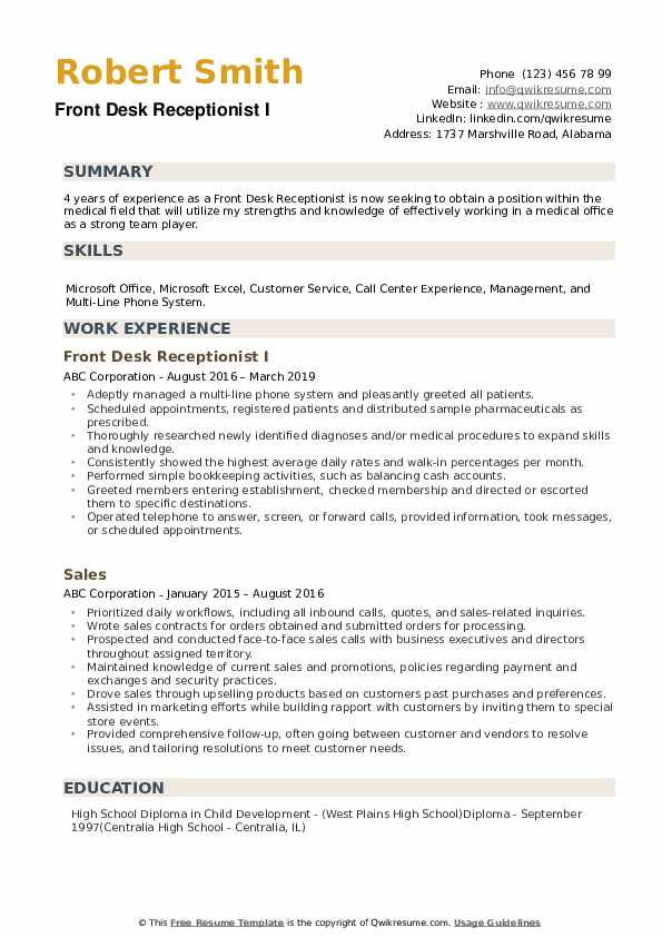 front desk receptionist resume samples qwikresume examples pdf contractor sourcer sample Resume Front Desk Resume Examples