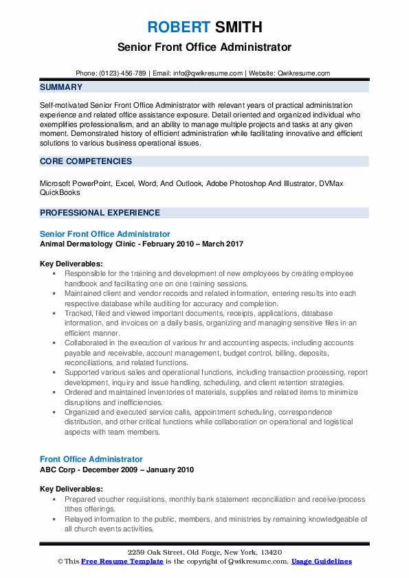 front office administrator resume samples qwikresume template pdf aerospace medical Resume Office Administrator Resume Template
