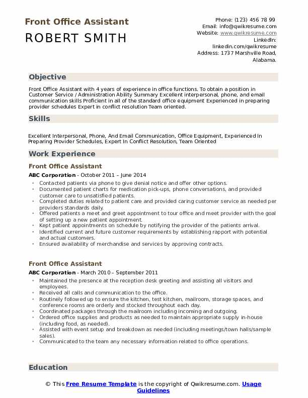 front office assistant resume samples qwikresume medical administration objective pdf cna Resume Medical Office Administration Resume Objective