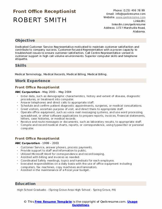 front office receptionist resume samples qwikresume desk examples pdf submission email Resume Front Desk Resume Examples