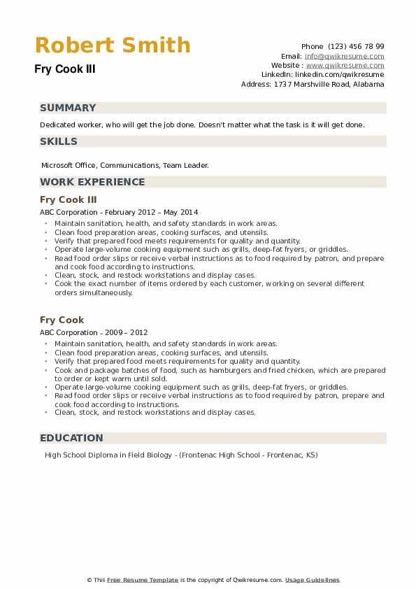 fry resume samples qwikresume job description for pdf police chief objective child care Resume Cook Job Description For Resume