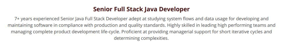 full stack developer resume guide with samples years experience summary overleaf siebel Resume Java Developer Resume 8 Years Experience