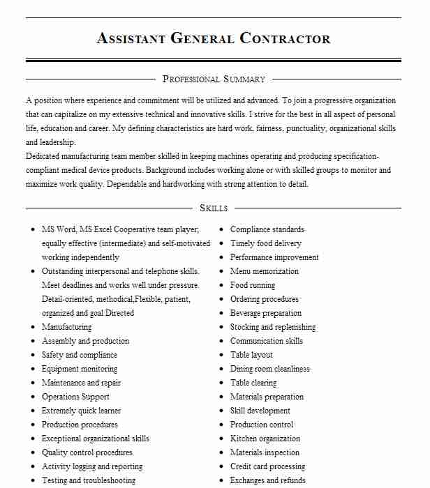 general contractor assistant resume example barlow construction chicago junior network Resume Contractor Assistant Resume