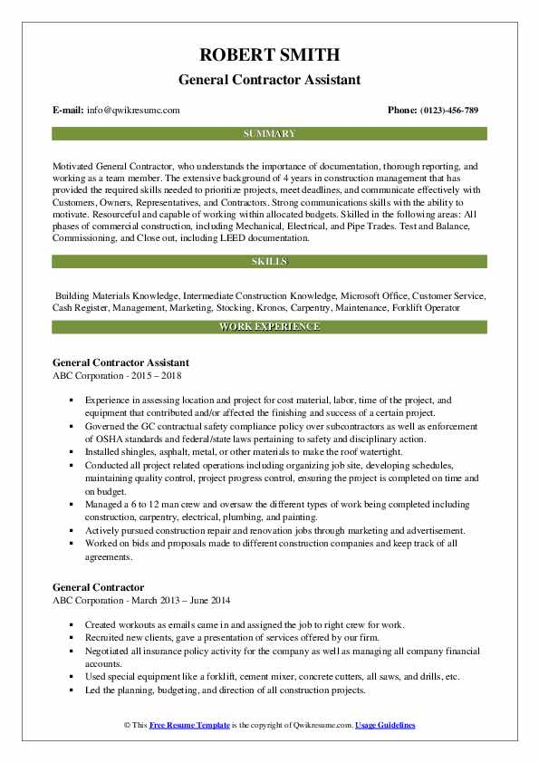 general contractor resume samples qwikresume assistant pdf retired military templates Resume Contractor Assistant Resume