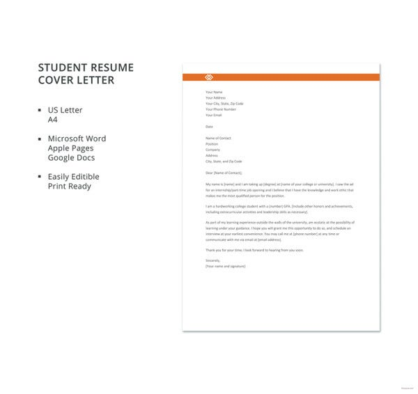 general cover letter templates pdf free premium generic for resume student template Resume Generic Cover Letter For Resume