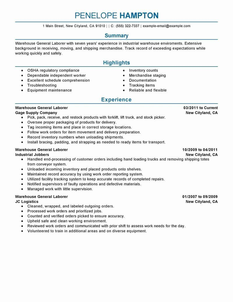 general labor resume no experience fresh best example human resources objective examples Resume General Summary For Resume