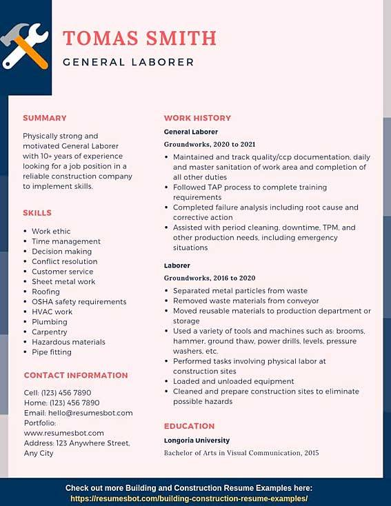 general laborer resume samples templates pdf resumes bot construction example first year Resume General Construction Laborer Resume