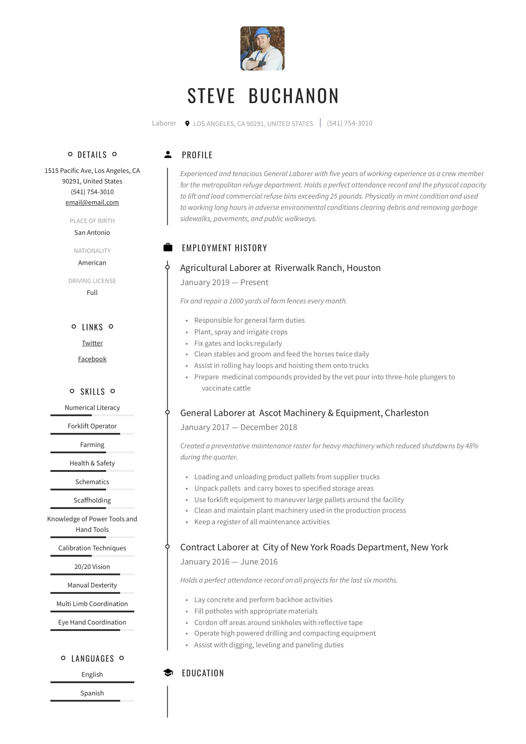 general laborer resume writing guide free templates construction emailing your software Resume General Construction Laborer Resume