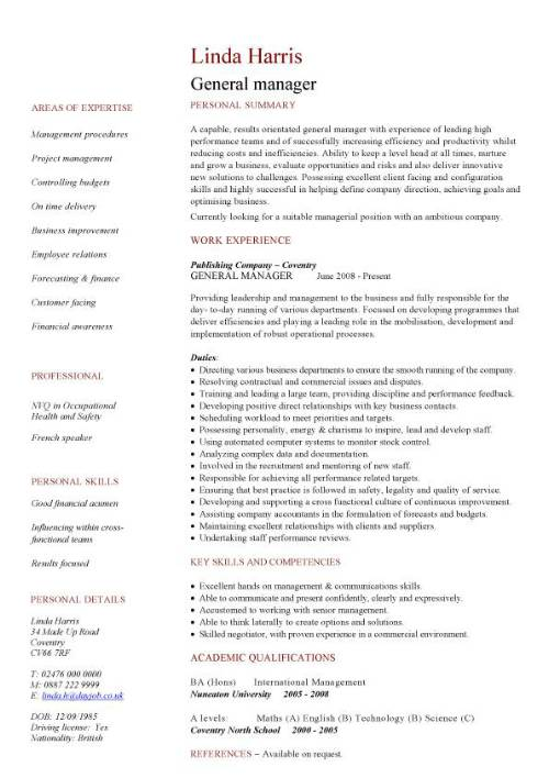 general manager cv sample responsible for daily operations and business performance Resume General Manager Resume Sample