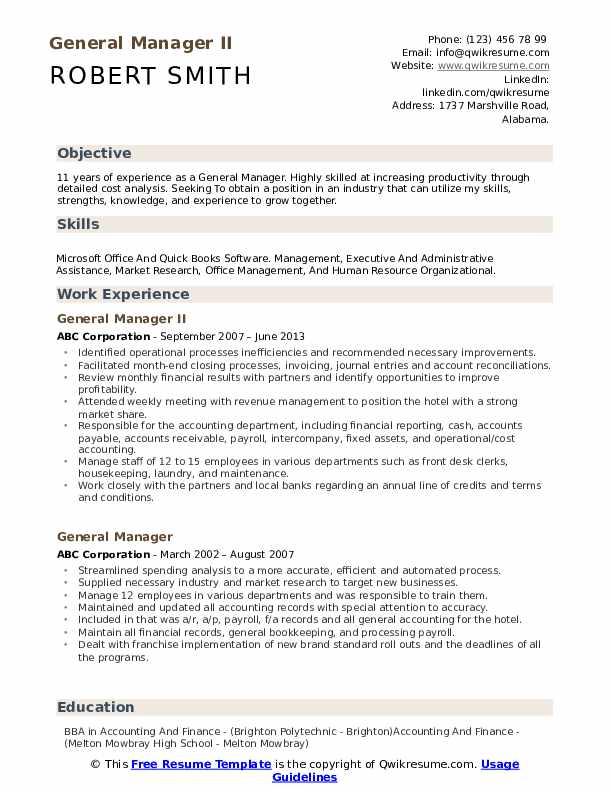 general manager resume samples qwikresume summary for pdf free job clerical position lmft Resume General Summary For Resume