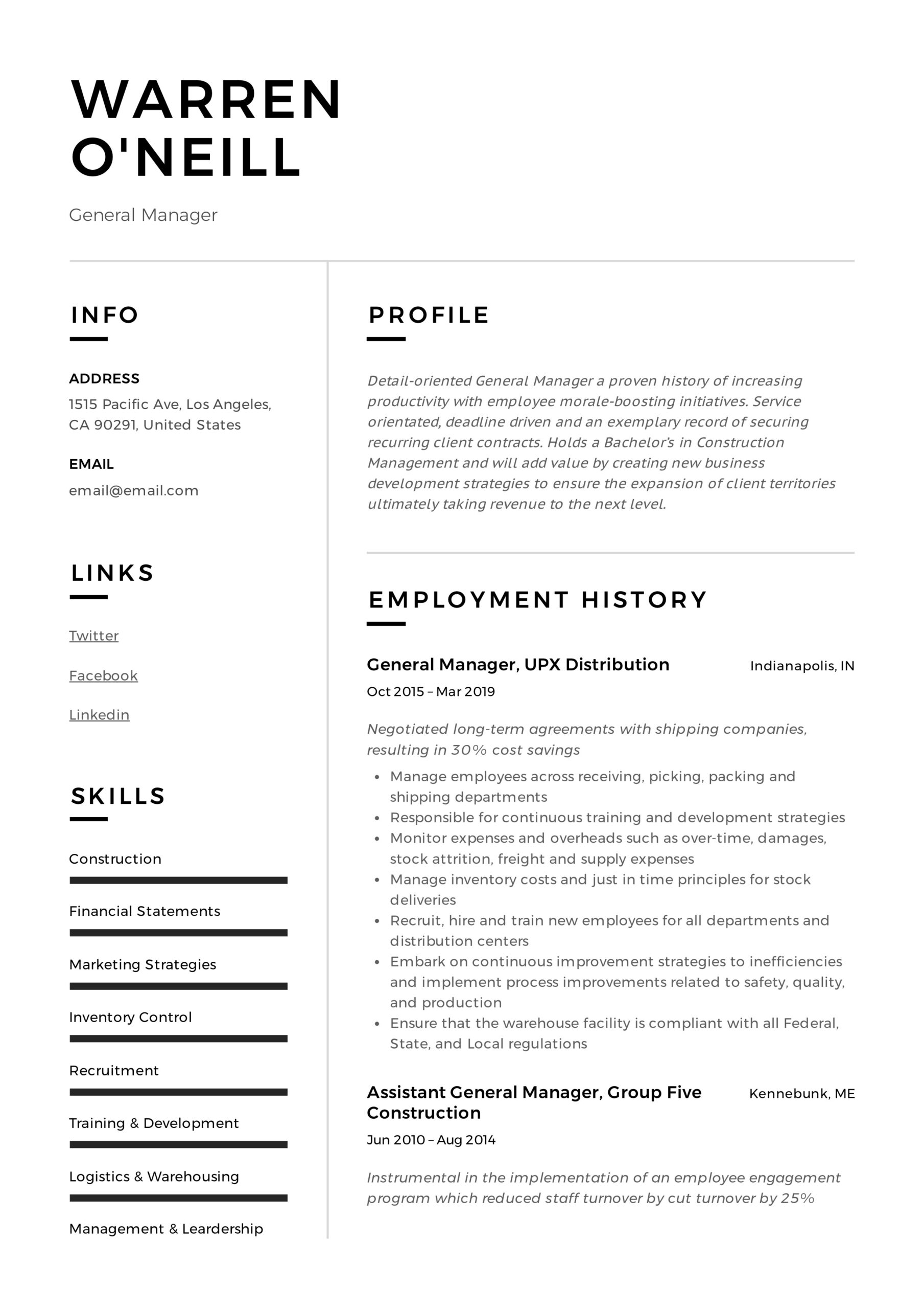 general manager resume writing guide examples pdf neill styles respiratory therapist hbs Resume Writing A General Resume