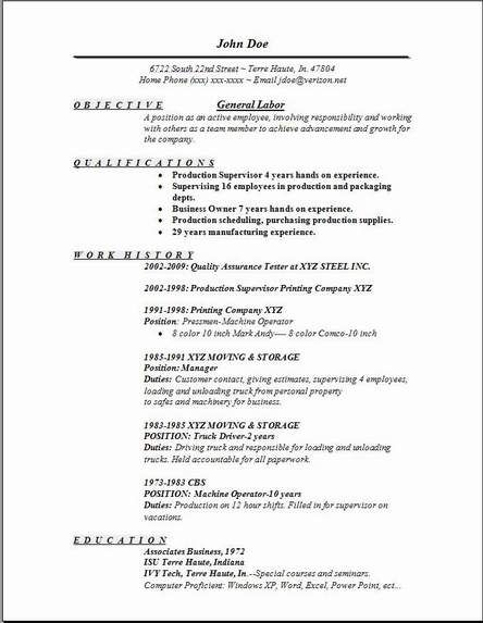 general resume examples labor samples free edit with wor objective sample statement for Resume Resume For General Job