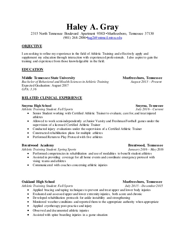 generic resume atht revised athletic training student enterprise assistant manager Resume Athletic Training Student Resume