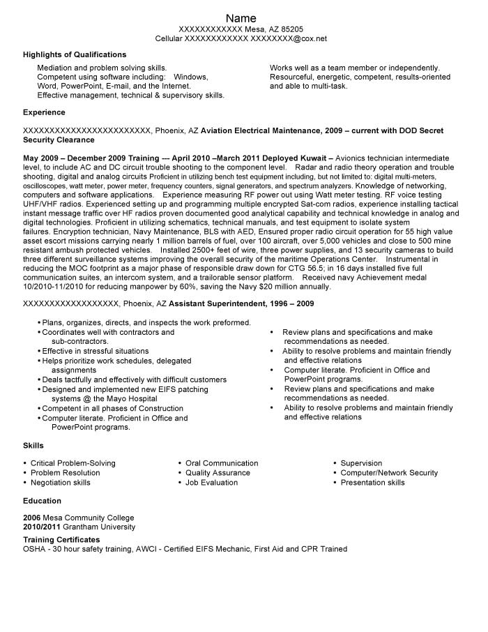 good resume examples for all careers prime security clearance on aviation electrical Resume Security Clearance On Resume