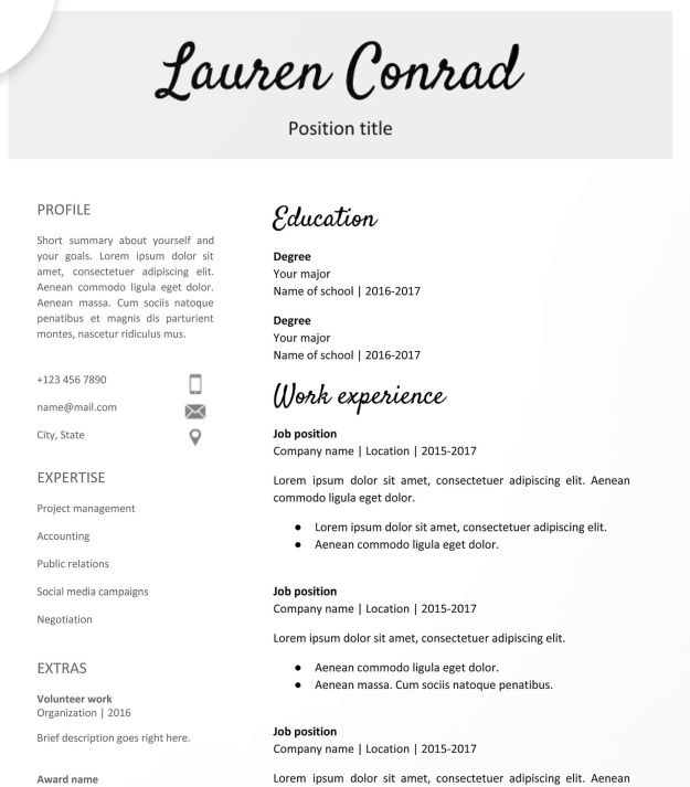 google docs resume templates downloadable pdfs teacher template free examples database Resume Resume Examples Google Docs