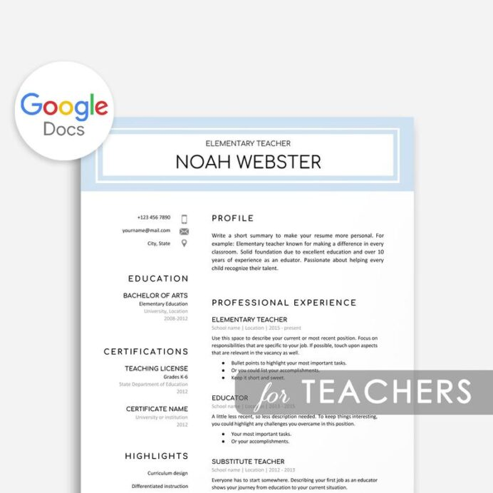 google docs resume templates now free template teacher example of objective for ojt Resume Free Google Doc Resume Template Download