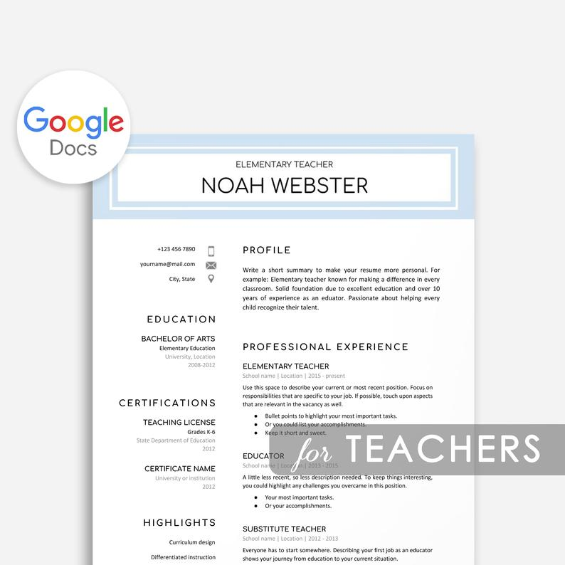 google docs resume templates now one template teacher professional affiliations on Resume One Page Resume Template Google Docs